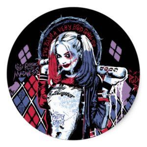 Suicide Squad | Harley Quinn Inked Graffiti Classic Round Sticker