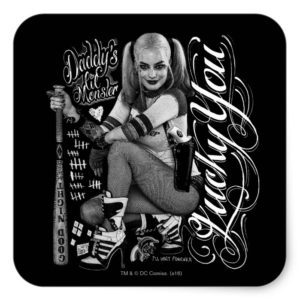 Suicide Squad | Harley Quinn Typography Photo Square Sticker
