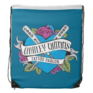 Suicide Squad   Harley Quinn's Tattoo Parlor Heart Drawstring Bag