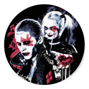 Suicide Squad | Joker & Harley Painted Graffiti Classic Round Sticker