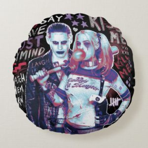 Suicide Squad | Joker & Harley Typography Photo Round Pillow