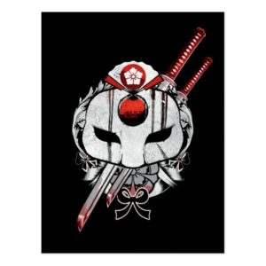 Suicide Squad | Katana Mask & Swords Tattoo Art Postcard