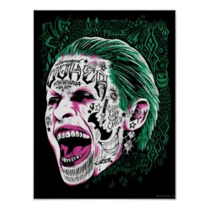 Suicide Squad   Laughing Joker Head Sketch Poster