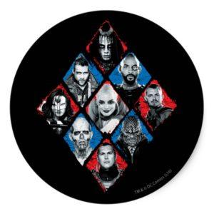 Suicide Squad | Task Force X Checkered Diamond Classic Round Sticker