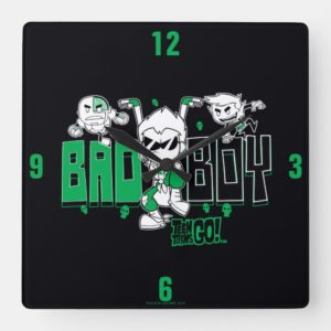 "Teen Titans Go! | ""Bad Boy"" Robin, Cyborg, & BB Square Wall Clock"