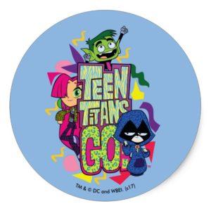 "Teen Titans Go! | ""Girls Girls"" Animal Print Logo Classic Round Sticker"