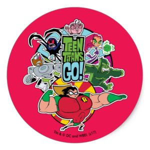 Teen Titans Go! | Team Group Graphic Classic Round Sticker