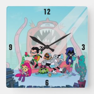 Teen Titans Go! | Tentacled Monster Approaches Square Wall Clock