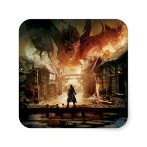 The Hobbit - Laketown Movie Poster Square Sticker