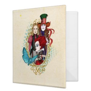 The Queen, Alice & Mad Hatter 3 3 Ring Binder