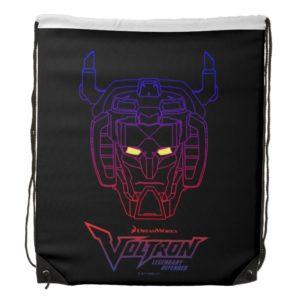Voltron   Blue-Red Gradient Head Outline Drawstring Bag