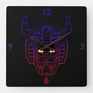 Voltron | Blue-Red Gradient Head Outline Square Wall Clock