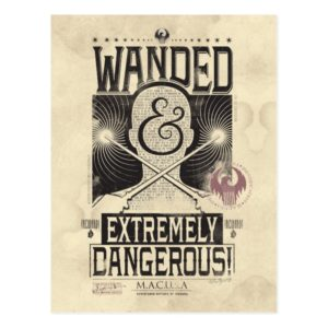 Wanded & Extremely Dangerous Wanted Poster - Black Postcard
