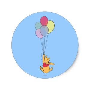 Winnie the Pooh and Balloons Classic Round Sticker