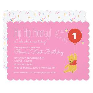 Winnie the Pooh | Baby Girl - First Birthday Invitation