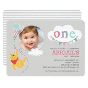 Winnie the Pooh | Baby Girl Kite - First Birthday Invitation