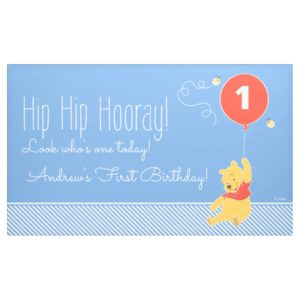 Winnie the Pooh Balloon   Boy - First Birthday Banner