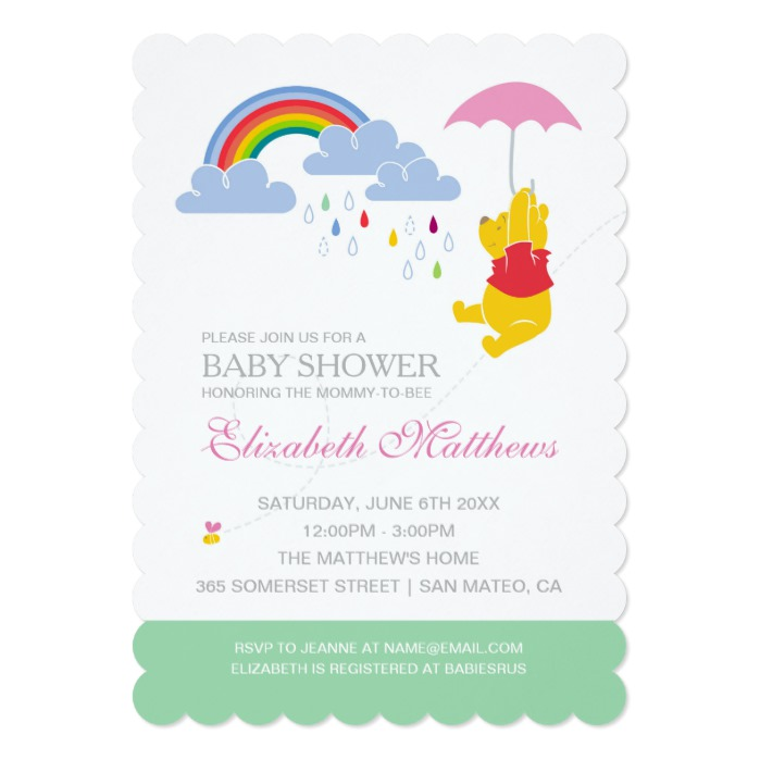 Winnie The Pooh Girl Baby Shower Invitation Custom Fan Art