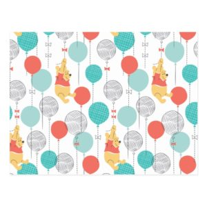 Winnie the Pooh | Hanging On Balloons Pattern Postcard