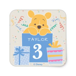Winnie the Pooh | Happy Birthday Square Sticker