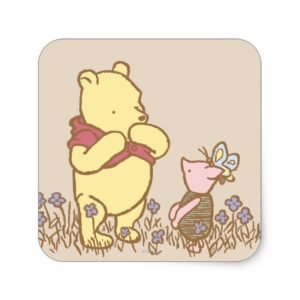 Winnie the Pooh   Pooh and Piglet in Field Classic Square Sticker