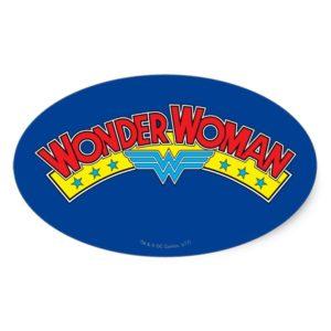Wonder Woman 1987 Comic Book Logo Oval Sticker