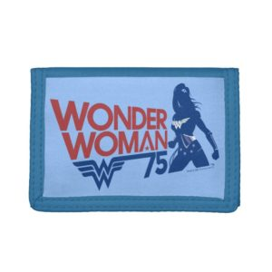 Wonder Woman 75th Anniversary Red & Blue Logo Trifold Wallet