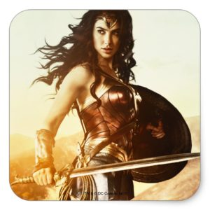 Wonder Woman At Sunset Square Sticker