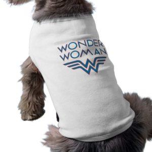 Wonder Woman Blue and Red Retro Logo Shirt