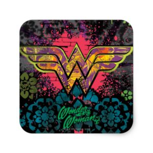 Wonder Woman Brick Wall Collage Square Sticker