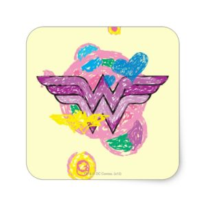 Wonder Woman Colorful Scribbles Square Sticker