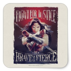 Wonder Woman Fight For Justice Square Sticker