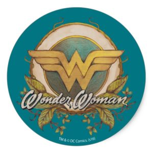 Wonder Woman Foliage Sketch Logo Classic Round Sticker