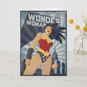 Wonder Woman Retro City Sunburst Card