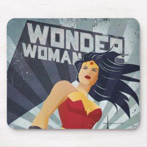 Wonder Woman Retro City Sunburst Mouse Pad