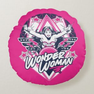 Wonder Woman Retro Glam Rock Graphic Round Pillow