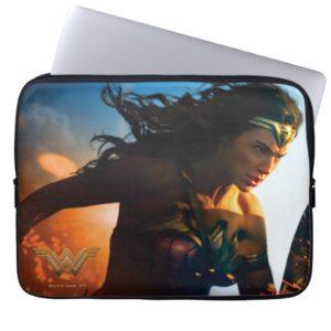 Wonder Woman Running on Battlefield Laptop Sleeve