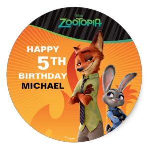 Zootopia Birthday Classic Round Sticker