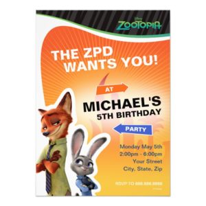 Zootopia Birthday Invitation