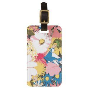 Alice in Wonderland Floral Pattern Luggage Tag