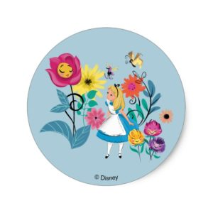 Alice in Wonderland | The Wonderland Flowers Classic Round Sticker