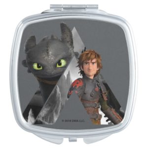 Alpha Dragon Toothless & Hiccup Compact Mirror