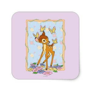 Bambi and Butterflies Square Sticker