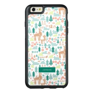 Bambi and Woodland Friends Pattern   Add Your Name OtterBox iPhone Case