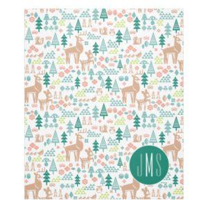 Bambi and Woodland Friends Pattern   Monogram Fleece Blanket