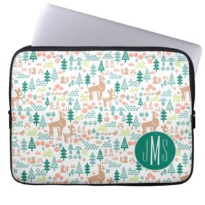 Bambi and Woodland Friends Pattern | Monogram Laptop Sleeve