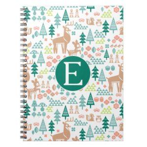 Bambi and Woodland Friends Pattern   Monogram Notebook