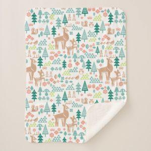 Bambi and Woodland Friends Pattern   Monogram Sherpa Blanket