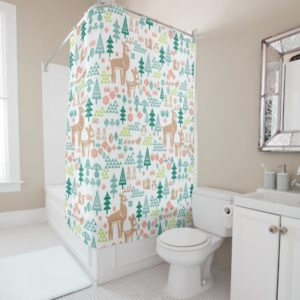 Bambi and Woodland Friends Pattern Shower Curtain