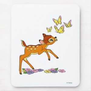 Bambi playing with butterflies mouse pad